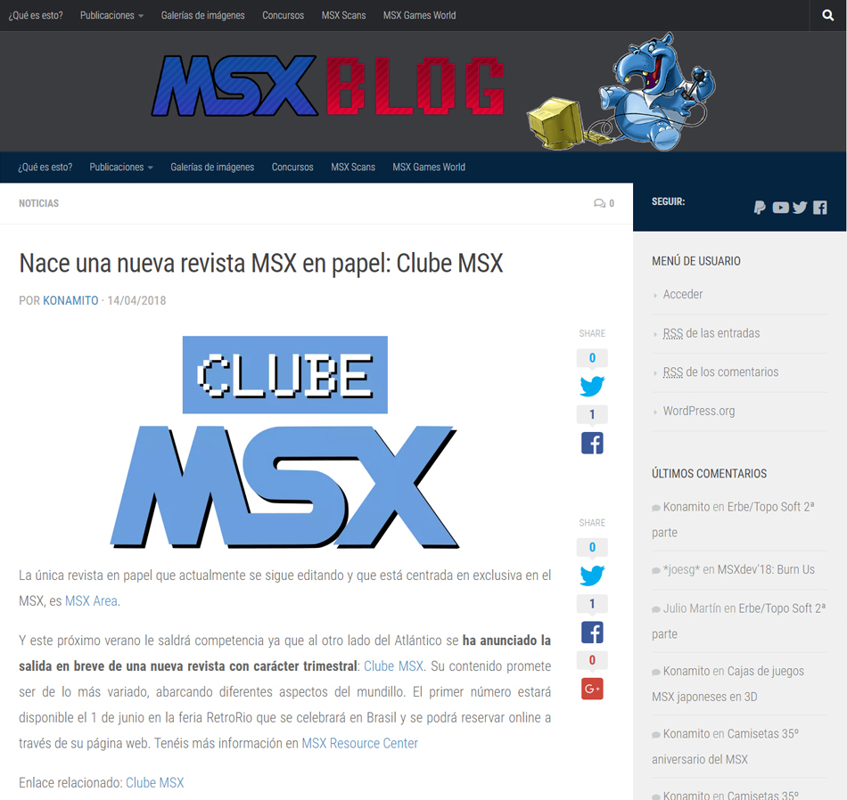 Clube MSX no MSXBlog, o blog do Konamito | Revista Clube MSX