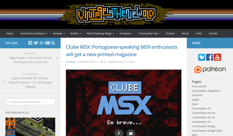 Clube MSX no site Vintage is the New Old | Revista Clube MSX