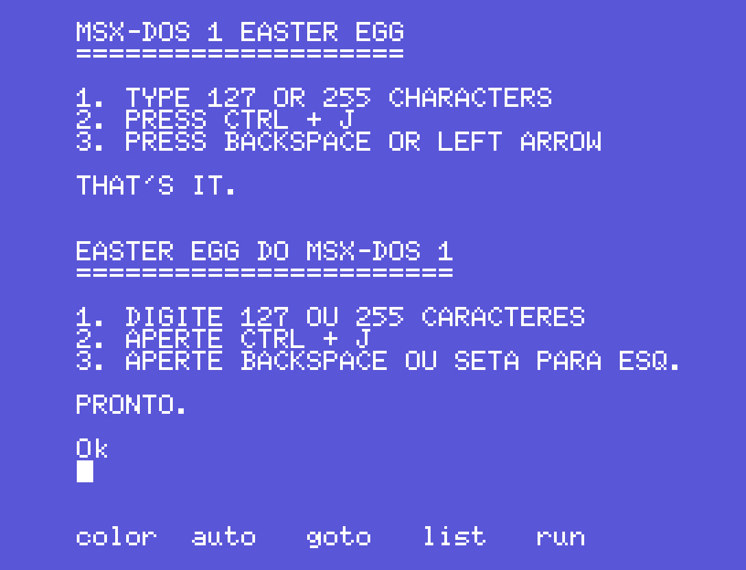 Easter egg do MSX-DOS 1: vídeo novo no canal da Clube MSX | Revista Clube MSX